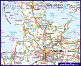 Автомобильная карта дорог Шлезвиг-Гольштейна