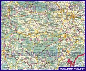 Подробная карта Тюрингии на русском языке