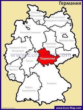 Тюрингия на карте Германии