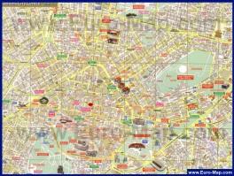 Карта центра Афин с достопримечательностями