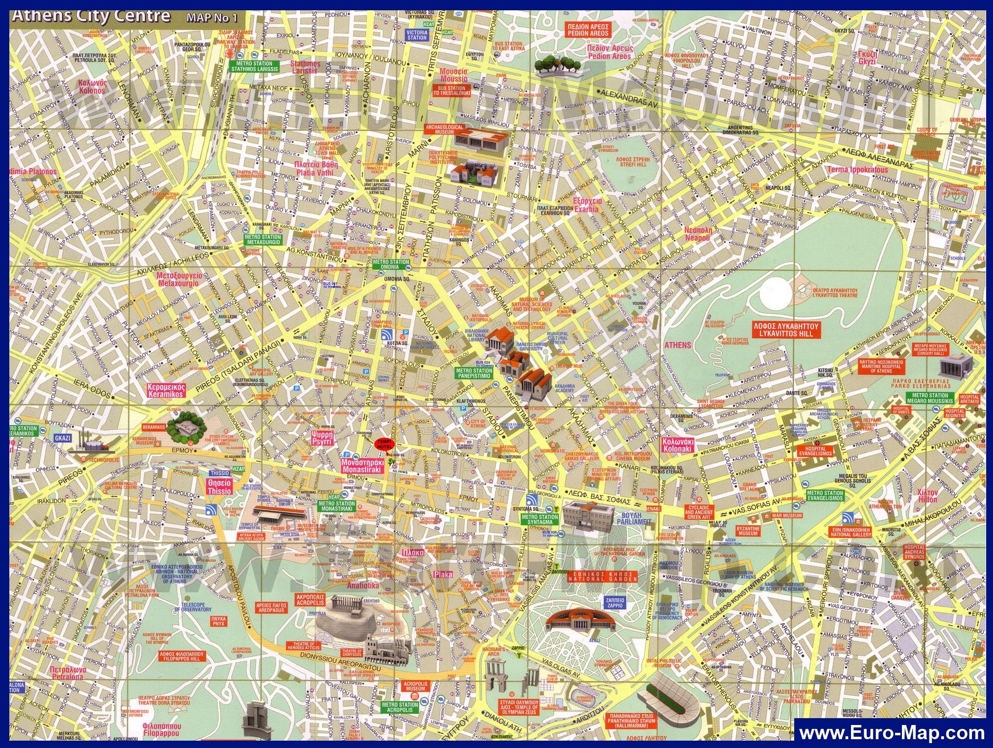 Детальная карта Афин - скачать или распечатать