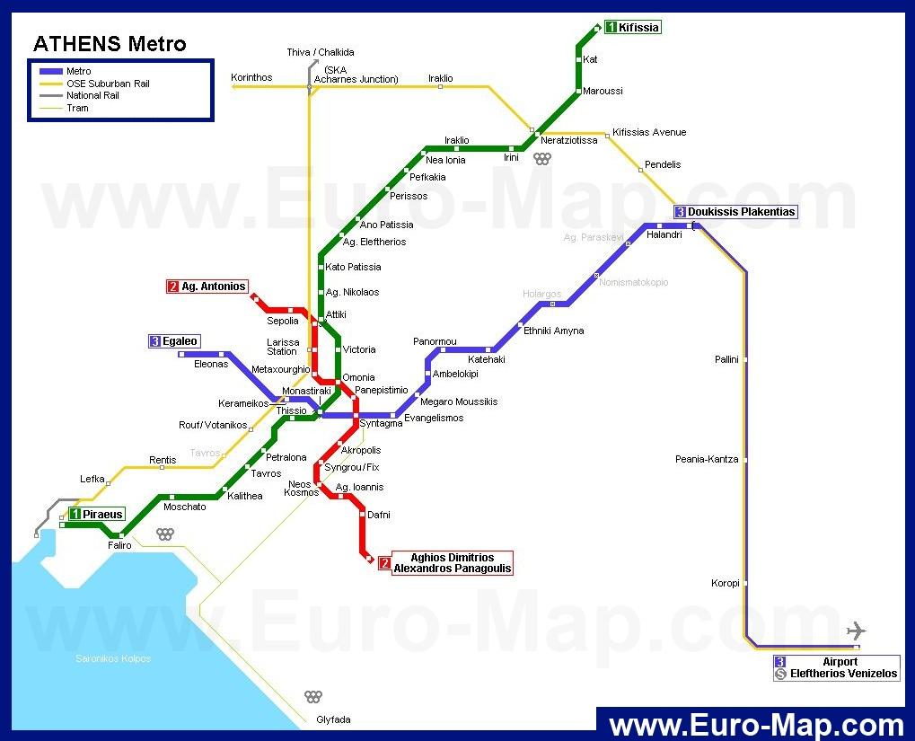 Карта метро г. Афины. Схема метрополитена: афины.