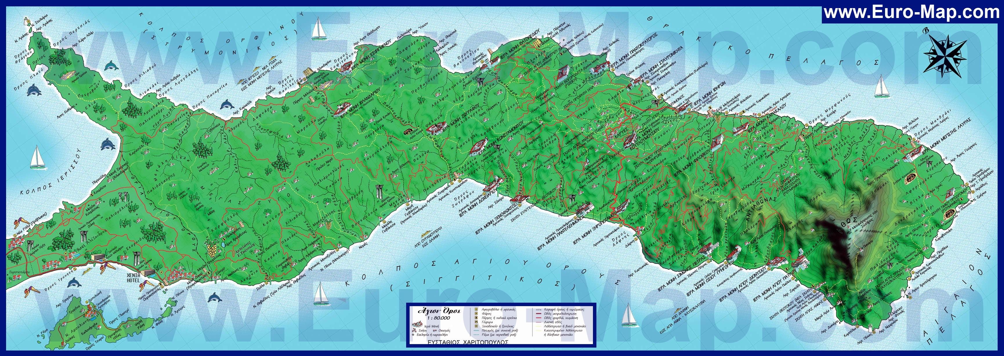 Подробная карта святой горы афон
