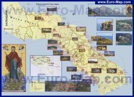 Туристическая карта Афона с достопримечательностями