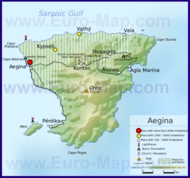 Карта острова Эгина с достопримечательностями