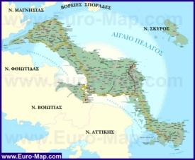 Подробная карта острова Эвбея