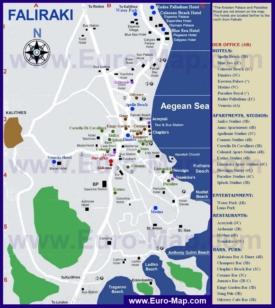 Подробная туристическая карта города Фалираки с отелями