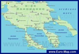 Карта курортов Халкидики