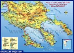 Туристическая карта Халкидики с отелями