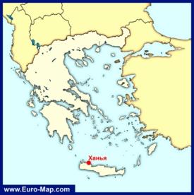 Ханья на карте Греции