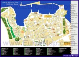 Карта старого города Ханьи с достопримечательностями