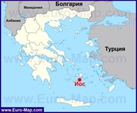 Иос на карте Греции