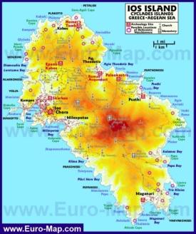 Подробная карта острова Иос