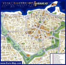 Туристическая карта центра города Ираклион