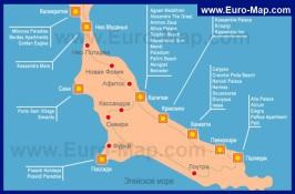 Карта Кассандры с отелями
