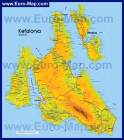 Подробная карта Кефалонии