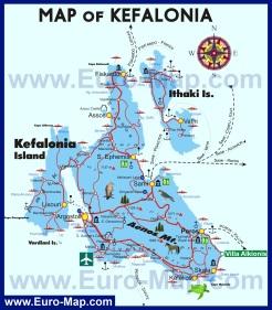 Туристическая карта острова Кефалония