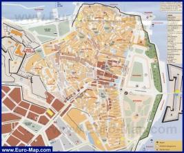 Карта города Корфу (Керкира) с достопримечательностями