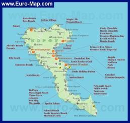 Отели Корфу на карте