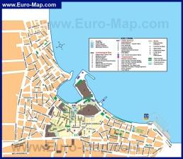 Туристическая карта города Кос с достопримечательностями