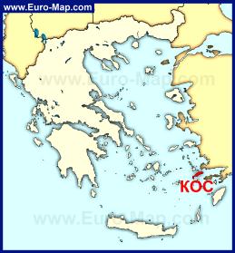 Остров Кос на карте Греции
