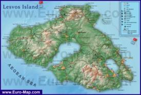 Подробная туристическая карта острова Лесбос