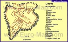 Карта Акрополя Линдоса