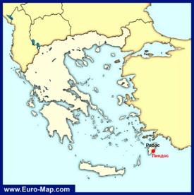 Линдос на карте Греции
