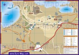 Подробная туристическая карта города Линдос с достопримечательностями