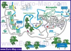 Туристическая карта Линдоса с отелями