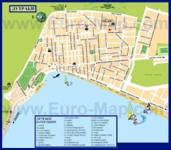 Карта курорта Лутраки с достопримечательностями