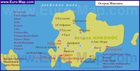 Карта отелей Миконоса