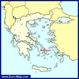 Остров Миконос на карте Греции