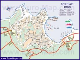 Подробная туристическая карта города Миконос