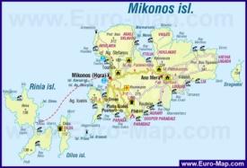Туристическая карта острова Миконос с курортами