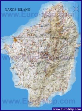 Подробная карта острова Наксос
