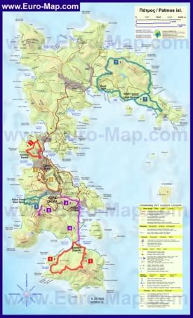 Подробная туристическая карта острова Патмос