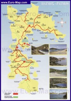 Туристическая карта дорог Патмоса