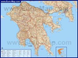 Подробная туристическая карта Пелопоннеса