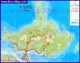 Подробная карта острова Порос