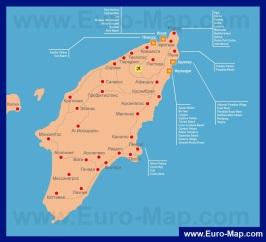 Карта Родоса с отелями на русском языке