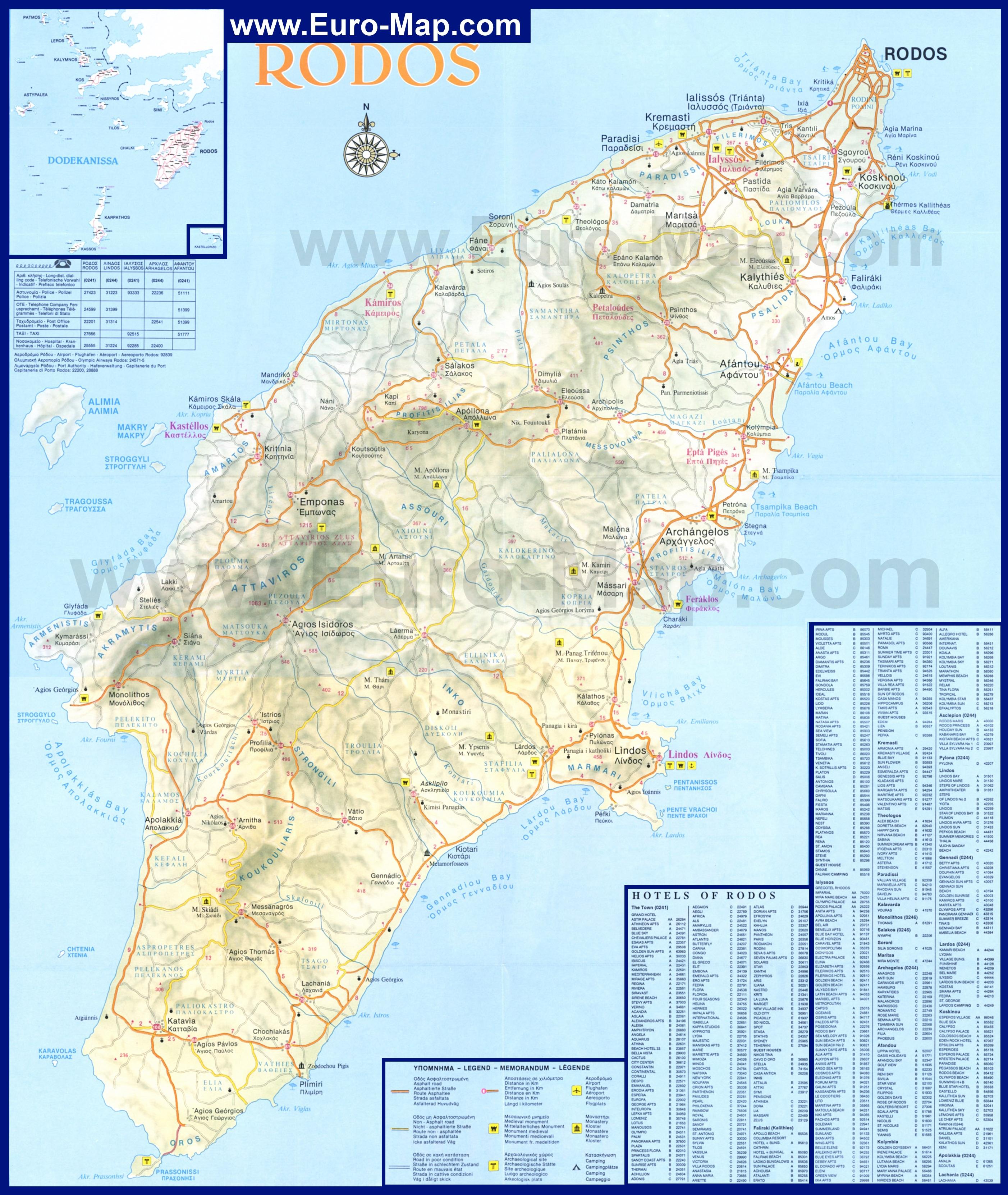 Подробная карта острова родос с