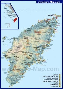 Туристическая карта Родоса с достопримечательностями