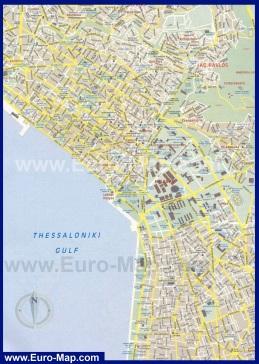 Карта центра города Салоники с достопримечательностями