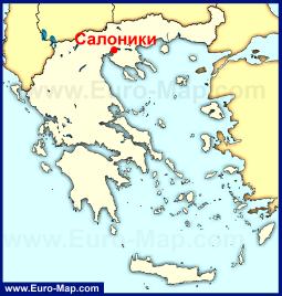 Салоники на карте Греции