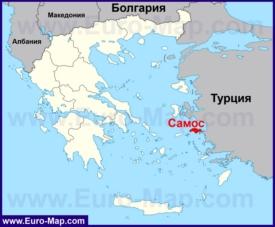 Самос на карте Греции
