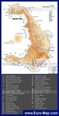 Карта острова Санторини с достопримечательностями