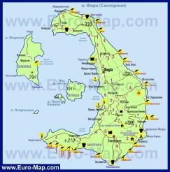 Подробная карта Санторини с курортами на русском языке