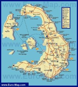 Туристическая карта острова Санторини