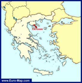 Ситония на карте Греции